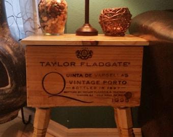 Taylor Fladgate Vintage Port Up cycled Wine Crate Table Vintage 1995