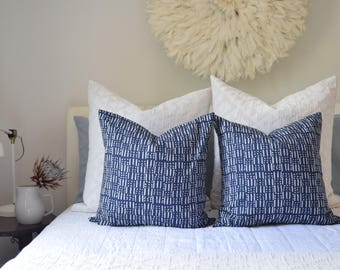 READY TO SHIP Sticks and Dots Decorative Cushion Cover Indigo Blue. Pillow Cover, mud cloth inspired