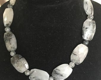 Chunky Tourmalinated Quartz DOBKA Necklace