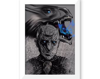 Game of thrones, The Night King, wall art, art prints, art poster, winter is coming, white walker,