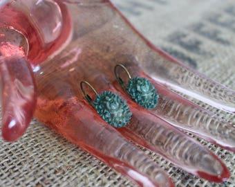 Green Floral Drop Earrings