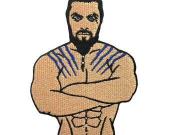 "Khal Drogo 2.75"" x 4"" Embroidered Patch, Iron On Patch, Game of Thrones, Denim Patch, Khaleesi, DIY"