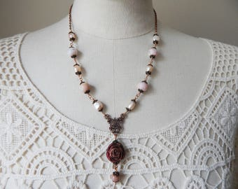 Mexican Pink Opal & Freshwater Pearl Lavalier Rose Antique Style Necklace
