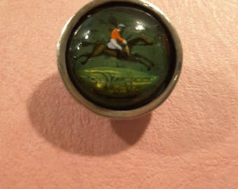 Vintage hunting horse scene, hand painted underglass with silver back - early 1900's.