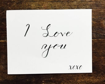 Love Letter, Lettered Stationary, Monochrome Lettering, Send to a Loved One, I Love You