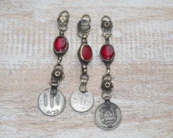 Kuchi Dangle Coin Metal Pendant with Glass Gemstone Kuchi Charm, Afgan Charm
