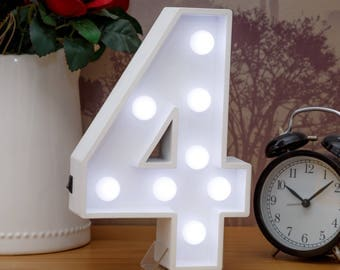 "Light Up Number 4 (Four) - 23cm (9"") high sign, Illuminated White Wooden Marquee Letters with LED Lights Wall Hanging or Freestanding"