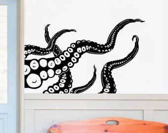 Octopus Wall Decal Kraken Tentacles Vinyl Wall Decal Nautical Bedroom Bathroom Decor Tentacle Vinyl Sticker Ocean Sea Wall Decor Art F80