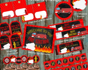 Fireman Party Package, Fireman Birthday Party, Fireman Party Supplies, Fireman Party Decorations, Firetruck Birthday, Firefighter Banner