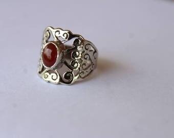 925 Sterling Silver Ring with Cornelian Gemstone