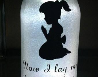 Glittered, illuminated  Now I lay me down to sleep - Girl - Mason jar
