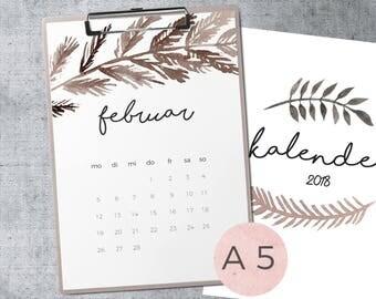 Calendar 2018-Watercolor leaves-A5