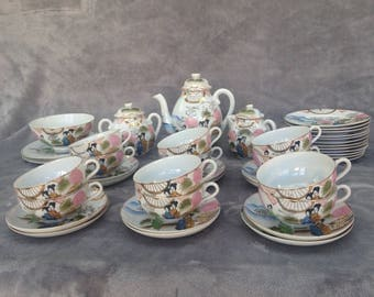 Chinese art deco tea set (40+ pieces in set) Eggshell porcelaine / hand painted /fine china / circa 1920s