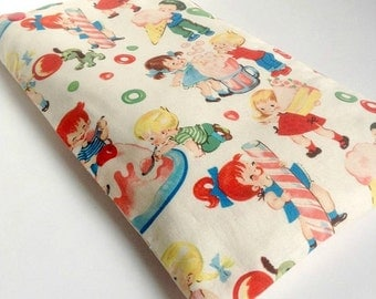 Heating pad removable with organic flax seeds, vintage/retro multicolored fabric small children