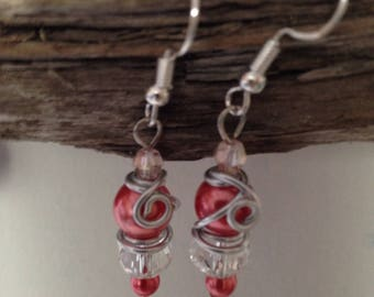 Coral Wire Wrapped Pearl and Crystal Earrings