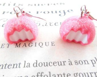 Candy pink and white polymer clay earrings.
