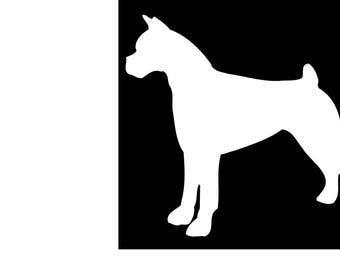 Boxer Dog Silhouette Vinyl Decal