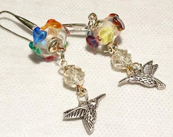 """""""Hearts of hummingbird earrings"""" Pearl of Murano glass, Swarovski Crystal, Hummingbird charms and 925 sterling silver findings."""