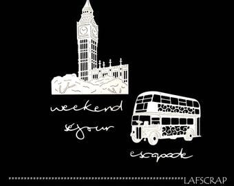 London bus big ben scrapbooking cuts Word weekend trip getaway Scrapbook embellishment