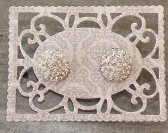 Silver rhinestone cabochon post earrings