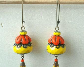 Bohemian yellow orange flower earrings