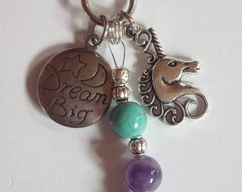 Unicorn Key Rings with Turquoise and Amethyst