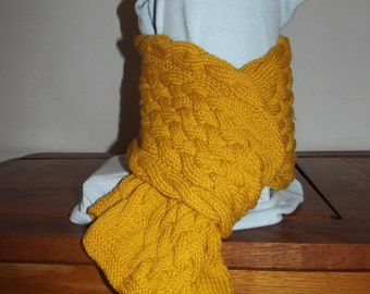 Mixed 100% hand-knitted wool scarf
