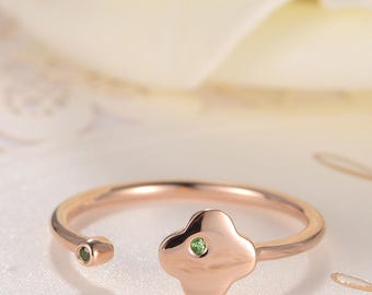Cuff Ring Rose Gold Tsavorite Open Ring Flower Adjustable Thin Floral Simple Clover Women Anniversary Promise Bezel Set Gift for Her Ring