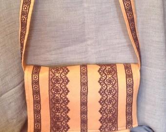 Romantic bag orange alcantara and chocolate lace stripes.