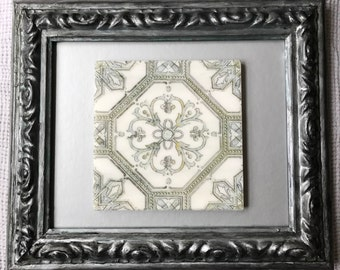 Framed Tile: Green stone tile with smokey silver  frame