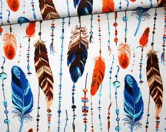 Tissu plumes, 100% coton imprimé 50 x 160 cm, plumes orange, marron, bleu sur fond blanc