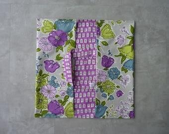 All cotton pie bag purple/khaki flowers