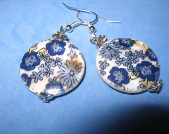 pretty blue flowers with pearl beads earrings