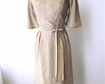 M 50s 60s Lurex Gold Cocktail Party Dress Silver Metallic Knit Wiggle Sexy Marilyn by Nat Turoff Medium