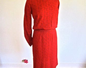 M L 50s 60s Red Wool Paisley Dress by Sacony Wiggle Day Office Belted Flawed Theater Photo Shoot Vintage Medium Large