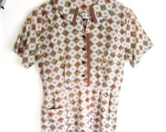 L 50s Dress Day Casual House Cotton Button Down Short Sleeves Floral Pansy Brown Green by Dixie Frocks VLV Large