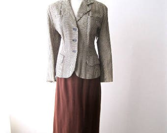L 40s 50s Jacket Blazer Houndstooth Wool Satin Lined Swing Rockabilly Office Librarian Pin Up VLV Large
