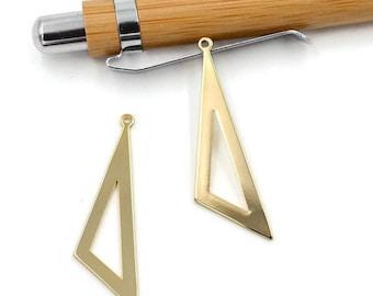 Set of 2 large pendants, triangle brass 40mm - HD - A4