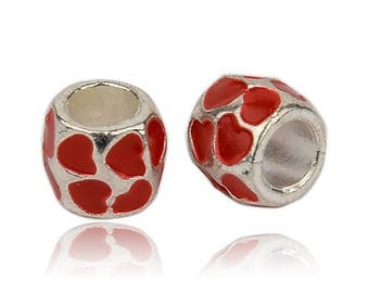 2 beads Charms hearts enamel red and silver Metal 8 x 8 mm