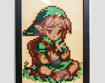 Young link. The legend of Zelda | Pixel art | Gaming decoration | Ironing beads