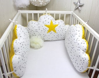 Baby cot bumpers for 60cm wide, 3 cloud cushions, yellow, white with grey stars