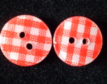10 buttons sewing gingham red and white 12 mm