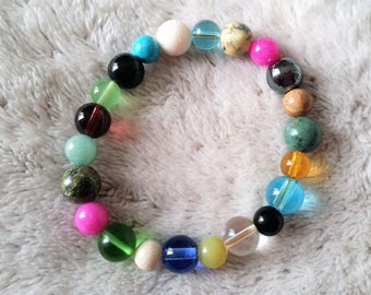 multicolored glass beads and natural stones bracelet