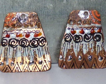 Copper African tribal charms silver white black orange-ethnic-Trapeze-geometric-creations craft-handmade