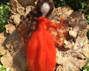 Handmade Red and Orange Needle Felted Wool Fairy