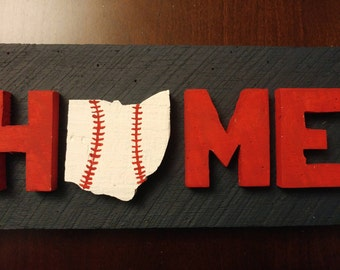 "Baseball Themed ""HOME"" Sign - Indians"