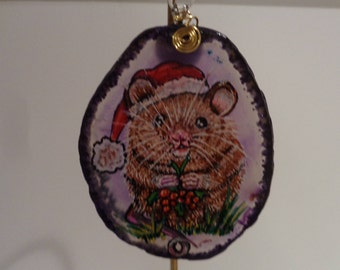 Christmas Ornaments, Painted Ornaments, Painted Agate Slice, Painted Slab, Christmas Mouse