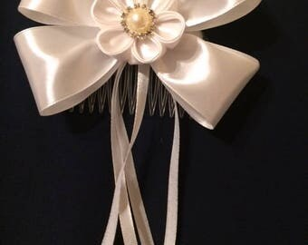 White Hair Comb Bridal Bridesmaid Flower Girl First Holy Communion