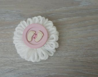Flowers in wool with button baby for customization