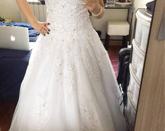 bride dress 2 color Train Dress 2017 wedding dress A-Line Scoop Lace Up Beaded mariage Wedding Gowns